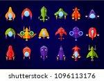 fantastic spaceships set  ufo... | Shutterstock .eps vector #1096113176