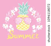 pineapple with glasses tropical ... | Shutterstock .eps vector #1096118072
