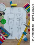 Small photo of Fashion Designer Dress Sketch
