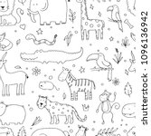 seamless pattern of doodle... | Shutterstock .eps vector #1096136942
