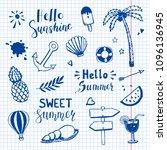 hand drawn set of summer doodle ... | Shutterstock .eps vector #1096136945