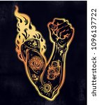 raised inked hand as a fist... | Shutterstock .eps vector #1096137722