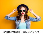 portrait of cool charming girl... | Shutterstock . vector #1096147775