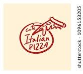 logo for the pizzeria. a slice... | Shutterstock .eps vector #1096153205