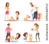 family with favorite puppy...   Shutterstock .eps vector #1096166912