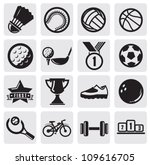 vector black sports balls set... | Shutterstock .eps vector #109616705