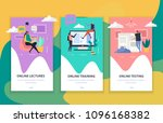 online education set of flat... | Shutterstock .eps vector #1096168382