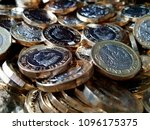 a pile of  1 coins. | Shutterstock . vector #1096175375