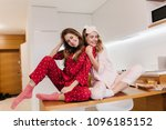 stunning girl in pink sleepwear ... | Shutterstock . vector #1096185152