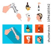 bottle  a glass of wine and... | Shutterstock .eps vector #1096185542