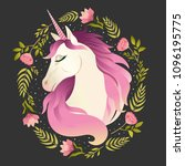 unicorn head in wreath of... | Shutterstock .eps vector #1096195775