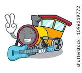 with guitar train mascot... | Shutterstock .eps vector #1096219772