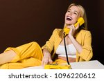 cheerful blonde girl talking by ... | Shutterstock . vector #1096220612