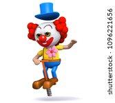 3d render of a clown on a pogo... | Shutterstock .eps vector #1096221656