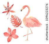hand drawn watercolor tropical... | Shutterstock . vector #1096223276