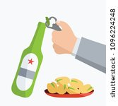 hand holds alcohol isolated art ... | Shutterstock .eps vector #1096224248