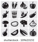 black icon vegetables vector set | Shutterstock .eps vector #109623152
