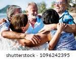 group of seniors on the beach | Shutterstock . vector #1096242395
