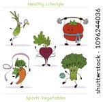 set of cute vegetables doing... | Shutterstock .eps vector #1096244036