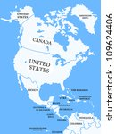 north america map with countries | Shutterstock . vector #109624406