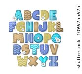 alphabet set  for scrapbook or... | Shutterstock .eps vector #1096255625