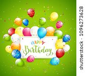 text happy birthday on green... | Shutterstock .eps vector #1096273628