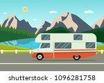 retro camper car trailers... | Shutterstock .eps vector #1096281758