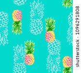 colorful pineapples on blue  ... | Shutterstock .eps vector #1096291808