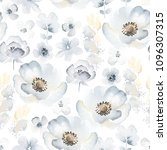 gentle floral pattern with blue ...   Shutterstock .eps vector #1096307315