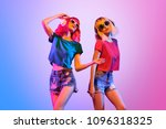 dj girl with pink blond fashion ... | Shutterstock . vector #1096318325