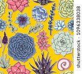 succulents seamless pattern.... | Shutterstock . vector #1096338038