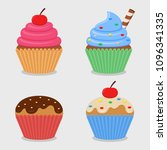 cupcake set collection on white ... | Shutterstock .eps vector #1096341335