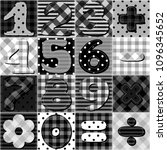 scrapbook numbers on patchwork... | Shutterstock . vector #1096345652