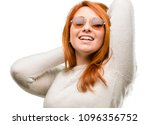 beautiful young redhead woman... | Shutterstock . vector #1096356752