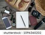 travel accessories for trip.... | Shutterstock . vector #1096360202