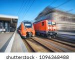 high speed train and old train... | Shutterstock . vector #1096368488