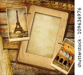 vintage travel background with blank page for text or your photo - stock photo