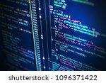 writing programming code on... | Shutterstock . vector #1096371422