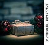 christmas present on the... | Shutterstock . vector #1096377506