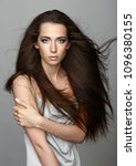 beauty portrait of young woman. ... | Shutterstock . vector #1096380155