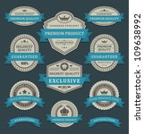 vintage labels and ribbons... | Shutterstock .eps vector #109638992