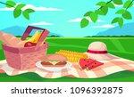 vector summer picnic... | Shutterstock .eps vector #1096392875