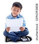 boy sitting on the floor and... | Shutterstock . vector #1096393808