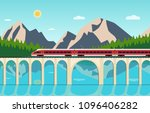 train on railway and bridge... | Shutterstock .eps vector #1096406282