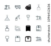 crane icon. collection of 16... | Shutterstock .eps vector #1096412636