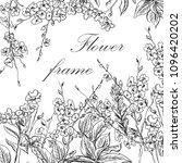 black and white flower frame.... | Shutterstock .eps vector #1096420202