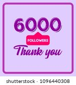 6000 followers thank you... | Shutterstock .eps vector #1096440308