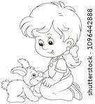 little smiling girl playing... | Shutterstock .eps vector #1096442888