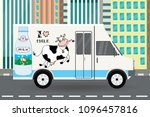 milk truck cow and milk bottle... | Shutterstock .eps vector #1096457816