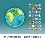 infographics. earth map with... | Shutterstock .eps vector #1096458596